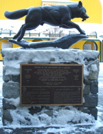 Anchorage sled dog monument