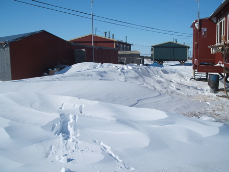 Snow drifts around Pavilla store
