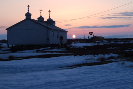 Sunset behind Russian Orthodox church
