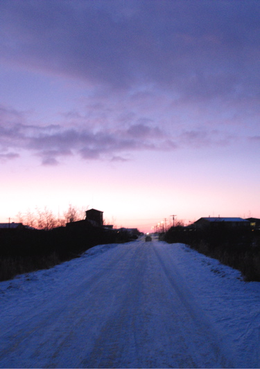 Icy road sunset