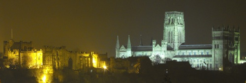 Cathedral and castle at night