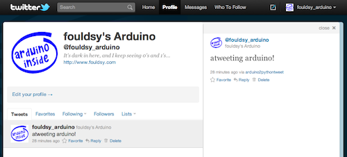 Tweeting Arduino