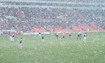 Sunderland in the snow at kick-off
